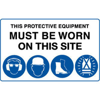 This Protective Equipment Must be Worn on This Site with 4 pictures