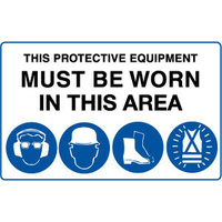 900x600mm - Fluted Board - This Protective Equipment Must be Worn in This Area (with 101, 105, 112, 114)