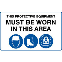 This Protective Equipment Must be Worn in This Area with 3 pictures