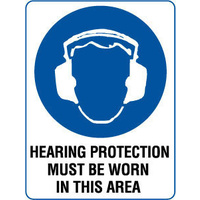 300x225mm - Poly - Hearing Protection Must be Worn in This Area