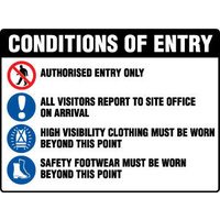 600x450mm - Fluted Board - Conditions of Entry Authorised Entry Only etc?. (with pictos)
