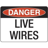240x180mm - Self Adhesive - Danger Live Wires