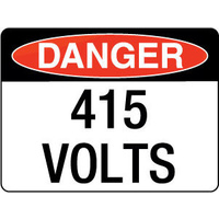 90x55mm - Self Adhesive - Sheet of 10 - Danger 415 Volts