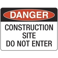 600x450mm - Fluted Board - Danger Construction Site Do Not Enter