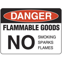 Danger Flammable Goods No Smoking Sparks Flames