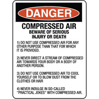 Danger Compressed Air Beware of Serious Injury or Death etc.