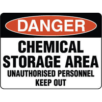 240x180mm - Self Adhesive - Danger Chemical Storage Area Unauthorised Personnel Keep Out
