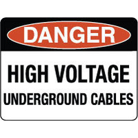 Danger High Voltage Undergound Cables