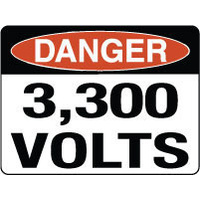 600x450mm - Fluted Board - Danger 3,300 Volts