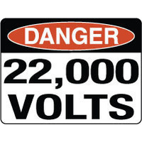 600x450mm - Fluted Board - Danger 22,000 Volts