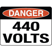 600x450mm - Fluted Board - Danger 440 Volts