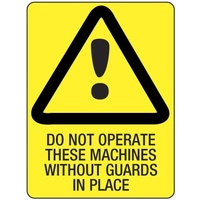 140x120mm - Self Adhesive - Pkt of 4 - Do Not Operate These Machines Without Guards in Place