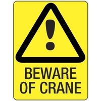 240x180mm - Self Adhesive - Beware of Crane