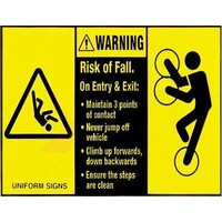 Warning Risk Of Fall on Exit or Entry Maintain 3 Points of Contact