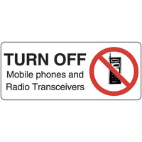 300x140mm - Self Adhesive - Turn Off Mobile Phones and Radio Transceivers
