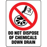 450MP -- 300x225mm - Poly - Do Not Dispose of Chemicals Down Drain
