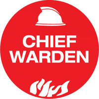 50mm Disc - Self Adhesive - Sheet of 12 - Chief Warden Pictogram