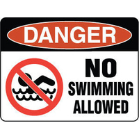 600x450mm - Metal, Class 2 Reflective - Danger No Swimming Allowed (with picto)