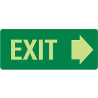 350x140mm - Metal - Luminous - Exit (with right arrow)