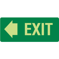 350x140mm - Self Adhesive - Luminous - Exit (with left arrow)