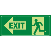 Running Man With Exit and Left Arrow