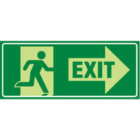 Running Man With Exit and Right Arrow