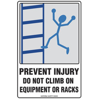 Prevent Injury Do Not Climb on Equipment or Racks
