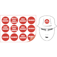 50mm Disc - Self Adhesive - Sheet of 12 - Fire Warden Assorted Hard Hat Labels
