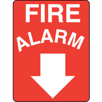 703LSP -- 450x300mm - Poly - Fire Alarm (Arrow Down)