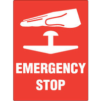 727MP -- 300x225mm - Poly - Emergency Stop With Picto