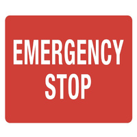 90x55mm - Self Adhesive - Sheet of 10 - Emergency Stop