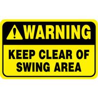 Warning Keep Clear of Swing Area