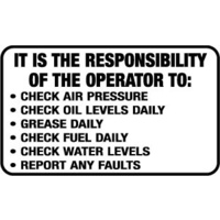 It is the Responsibility of the Operator to: ...