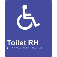180x220mm - Braille - Blue PVC - Accessible Toilet (Right Hand)