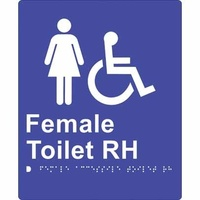180x220mm - Braille - Blue PVC - Female Accessible Toilet (Right Hand)