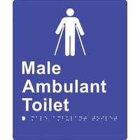 180x220mm - Braille - Blue PVC - Male Ambulant Toilet