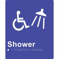 180x220mm - Braille - Blue PVC - Accessible Shower