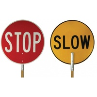 Stop/Slow Baton with Wooden Handle