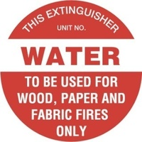 200mm Disc - Self Adhesive - Fire Extinguisher Marker - Water (Red)