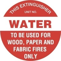 FRL01P -- 200mm Disc - Poly - Fire Extinguisher Marker - Water (Red)