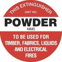 FRL05P -- 200mm Disc - Poly - Fire Extinguisher Marker - Powder AB(E) (White)