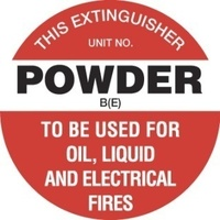 FRL06P -- 200mm Disc - Poly - Fire Extinguisher Marker - Powder B(E) (White)