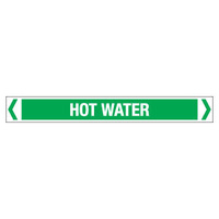 30x380mm - Self Adhesive Pipe Markers - Pkt of 10 - Hot Water