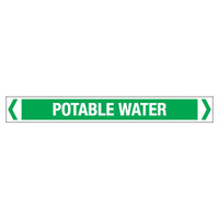 30x380mm - Self Adhesive Pipe Markers - Pkt of 10 - Potable Water