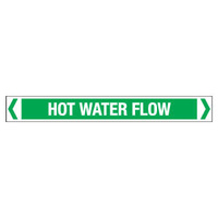 30x380mm - Self Adhesive Pipe Markers - Pkt of 10 - Hot Water Flow