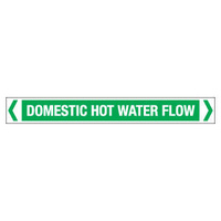 30x380mm - Self Adhesive Pipe Markers - Pkt of 10 - Domestic Hot Water Flow