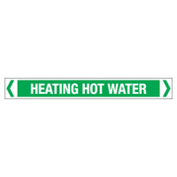 30x380mm - Self Adhesive Pipe Markers - Pkt of 10 - Heating Hot Water