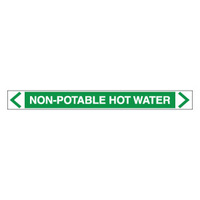 30x380mm - Self Adhesive Pipe Markers - Pkt of 10 - Non Potable Hot Water