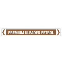 30x380mm - Self Adhesive Pipe Markers - Pkt of 10 - Premium Unleaded Petrol