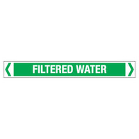 30x380mm - Self Adhesive Pipe Markers - Pkt of 10 - Filtered Water